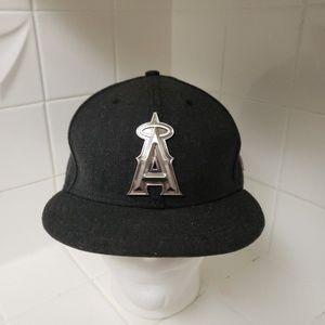 New Era 59fifty Angels Silver Metal Logo Hat 7.5